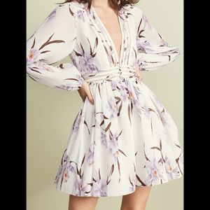 ZIMMERMANN Lilac Orchid Pleated Floral Mini